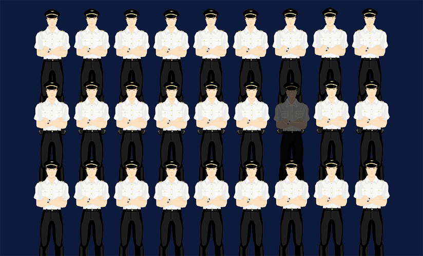 Three rows of ordinary pilots with one greyed out.