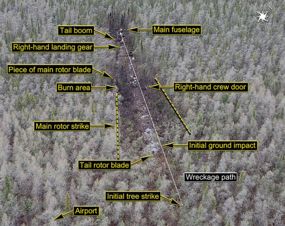 Photo of where crash took place showing a densely wooded, swampy area.