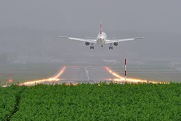 Landing at Zürich International Airport.