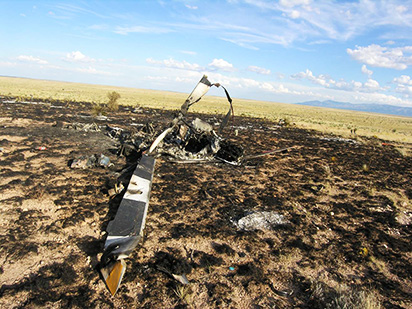 Photo of helicopter wreckage.