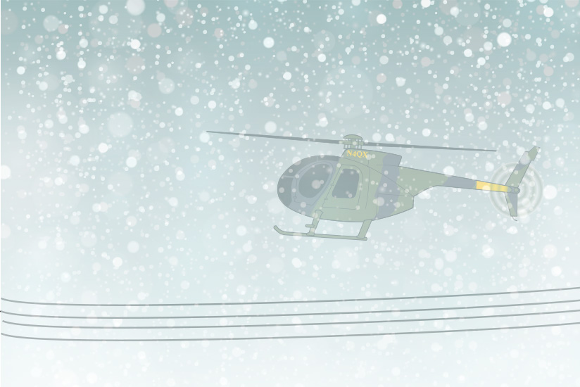 Drawing of accident helicopter flying over power lines