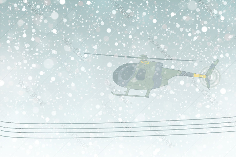 MD 639HM silhouette flying over power lines with snow falling.