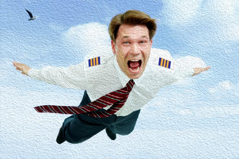 First officer falling through the sky with a panicked expression.