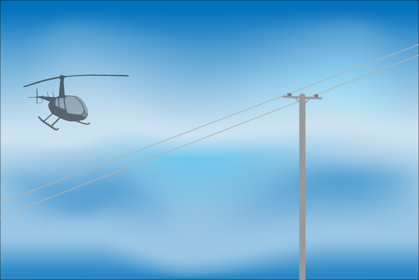 Illustration of R44 helicopter approaching a power line that is barely visible.