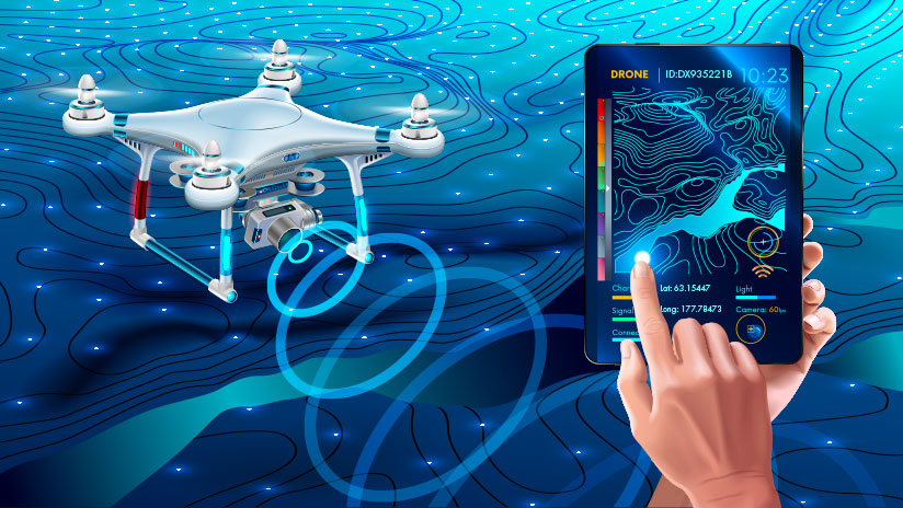 Illustration of drone in background over terrain and a hand holding a device showing ID information.