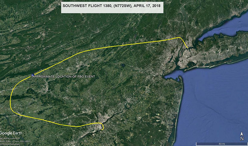 Plot of the flight path on a Google map.