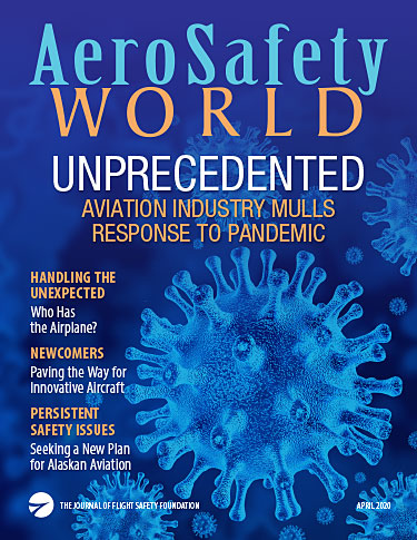 Cover of the April 2020 issue of AeroSafety World featuring illustrations of coronaviruses